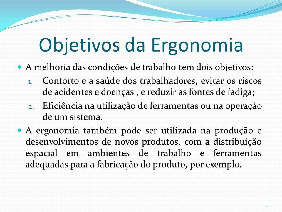 4 Objetivos da Ergonomia A melhoria das condições de trabalho tem dois objetivos: 1. Conforto e a saúde dos trabalhadores, evitar os riscos de acident