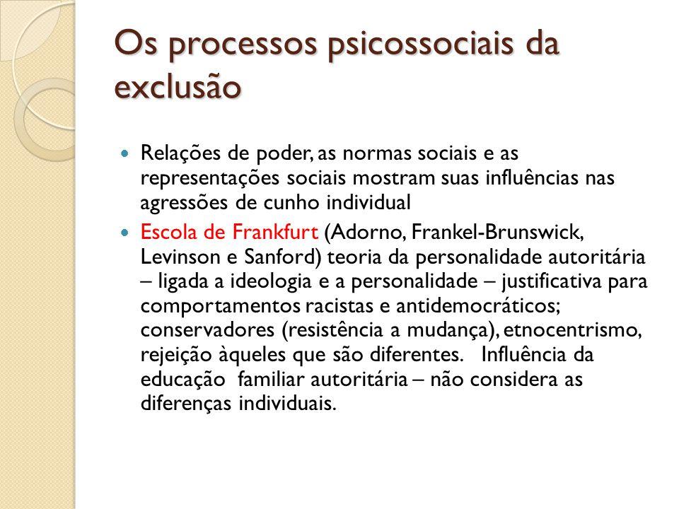 Os processos psicossociais da exclusão Relações de poder, as normas sociais e as representações sociais mostram suas influências nas agressões de cunh