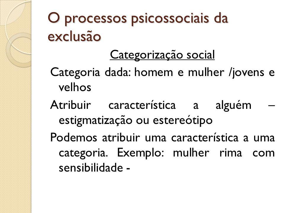 O processos psicossociais da exclusão Categorização social Categoria dada: homem e mulher /jovens e velhos Atribuir característica a alguém – estigmat