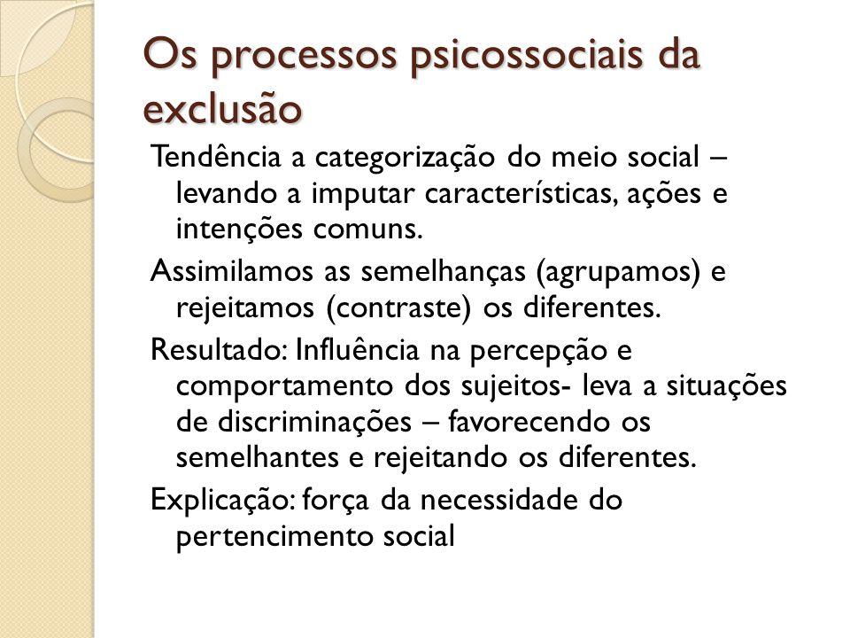 Os processos psicossociais da exclusão Tendência a categorização do meio social – levando a imputar características, ações e intenções comuns. Assimil
