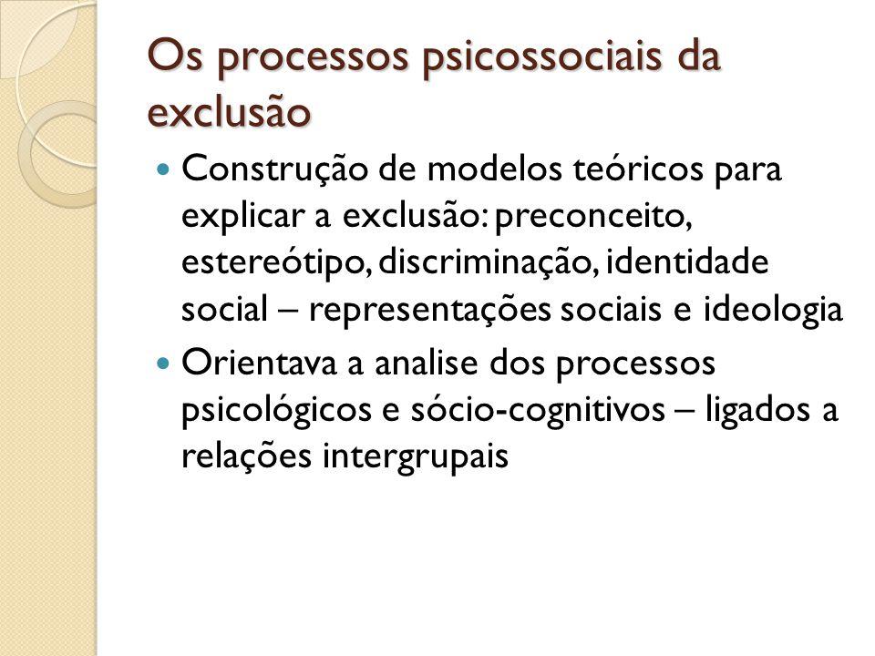 Os processos psicossociais da exclusão Construção de modelos teóricos para explicar a exclusão: preconceito, estereótipo, discriminação, identidade so