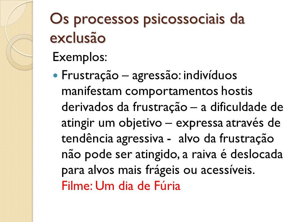 Os processos psicossociais da exclusão Exemplos: Frustração – agressão: indivíduos manifestam comportamentos hostis derivados da frustração – a dificu