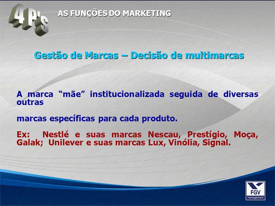 A marca mãe institucionalizada seguida de diversas outras marcas específicas para cada produto. Ex: Nestlé e suas marcas Nescau, Prestígio, Moça, Gala