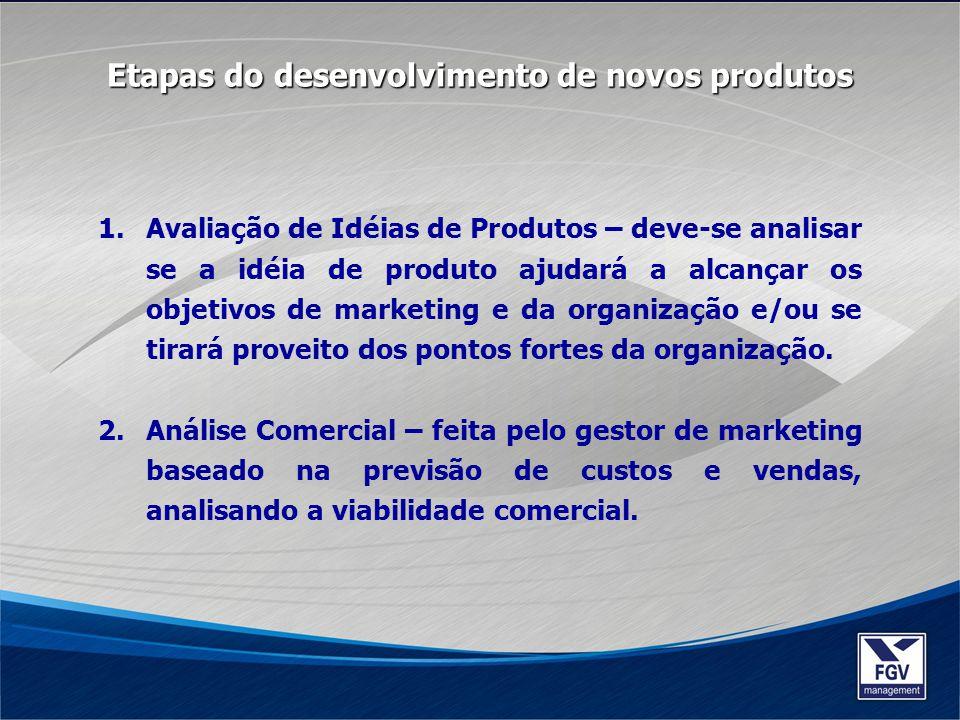 1.Avaliação de Idéias de Produtos – deve-se analisar se a idéia de produto ajudará a alcançar os objetivos de marketing e da organização e/ou se tirar