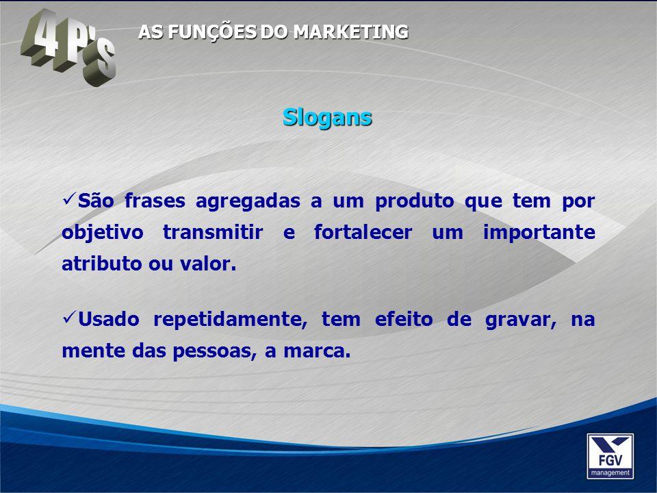 São frases agregadas a um produto que tem por objetivo transmitir e fortalecer um importante atributo ou valor. Usado repetidamente, tem efeito de gra