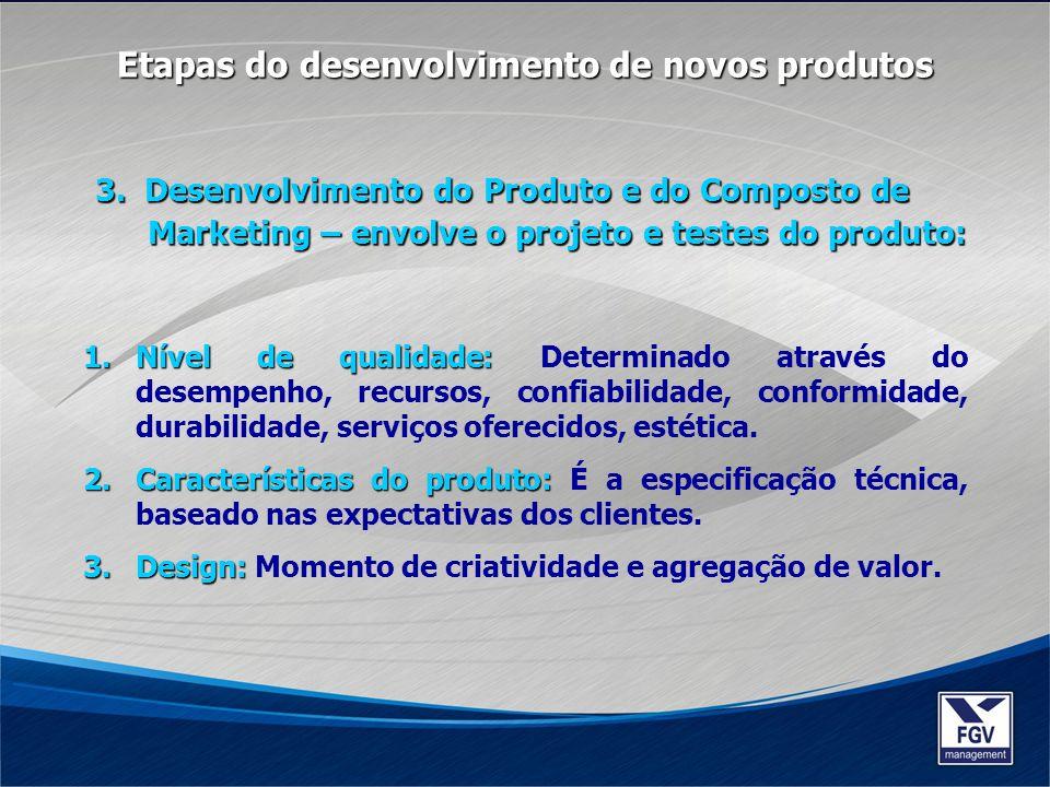 3. Desenvolvimento do Produto e do Composto de Marketing – envolve o projeto e testes do produto: Etapas do desenvolvimento de novos produtos 1.Nível