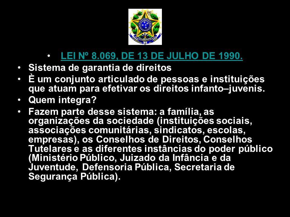 LEI Nº 8.069, DE 13 DE JULHO DE 1990. Sistema de garantia de direitos È um conjunto articulado de pessoas e instituições que atuam para efetivar os di