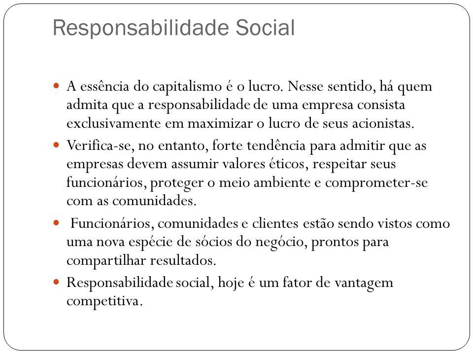 Responsabilidade Social A essência do capitalismo é o lucro. Nesse sentido, há quem admita que a responsabilidade de uma empresa consista exclusivamen