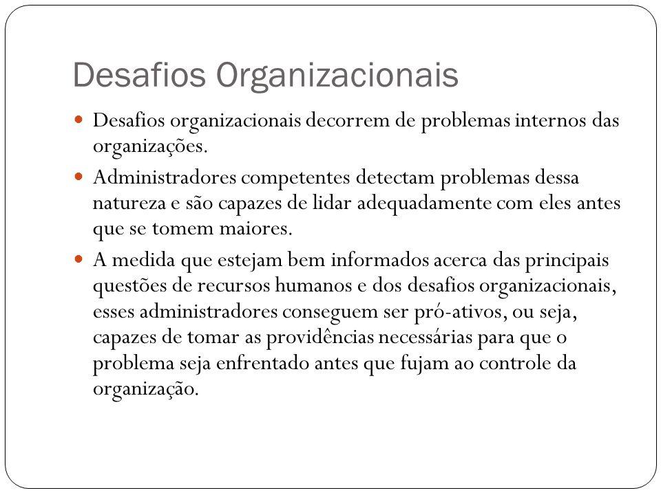 Desafios Organizacionais Desafios organizacionais decorrem de problemas internos das organizações. Administradores competentes detectam problemas dess