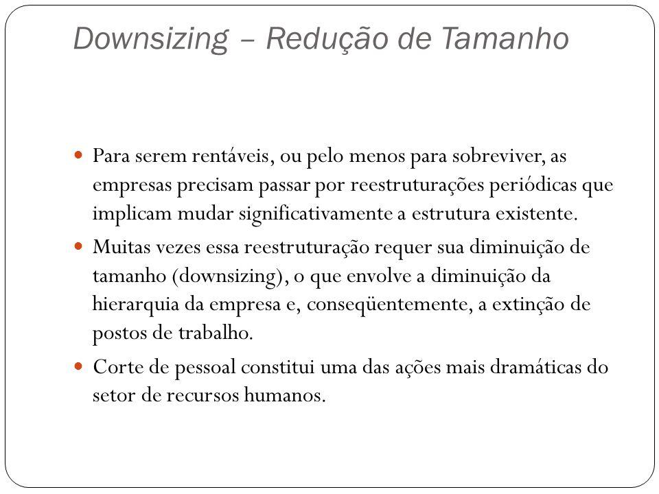 Downsizing – Redução de Tamanho Para serem rentáveis, ou pelo menos para sobreviver, as empresas precisam passar por reestruturações periódicas que im