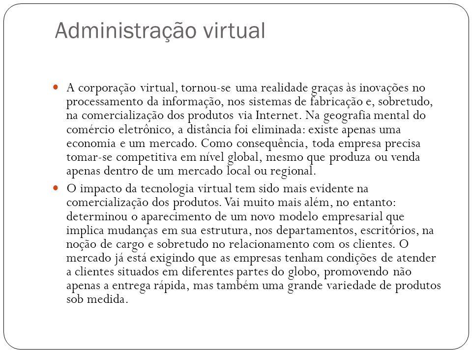 Administração virtual A corporação virtual, tornou-se uma realidade graças às inovações no processamento da informação, nos sistemas de fabricação e,