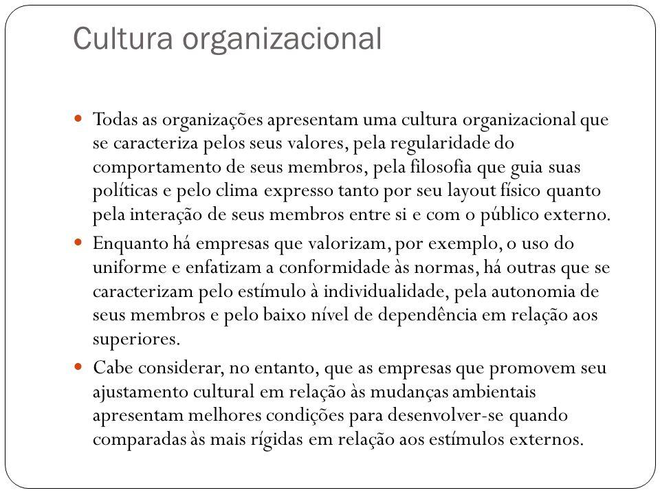 Cultura organizacional Todas as organizações apresentam uma cultura organizacional que se caracteriza pelos seus valores, pela regularidade do comport