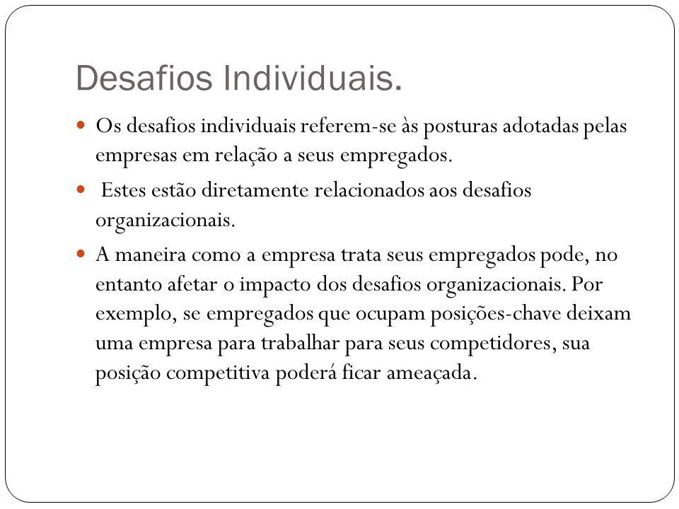 Desafios Individuais. Os desafios individuais referem-se às posturas adotadas pelas empresas em relação a seus empregados. Estes estão diretamente rel