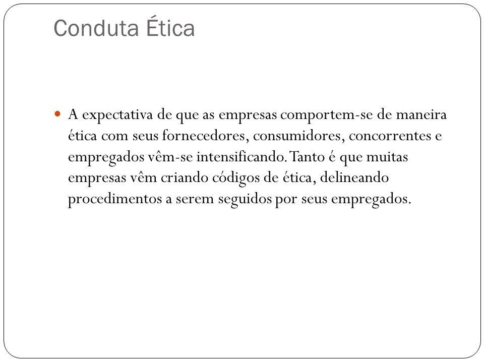 Conduta Ética A expectativa de que as empresas comportem-se de maneira ética com seus fornecedores, consumidores, concorrentes e empregados vêm-se int