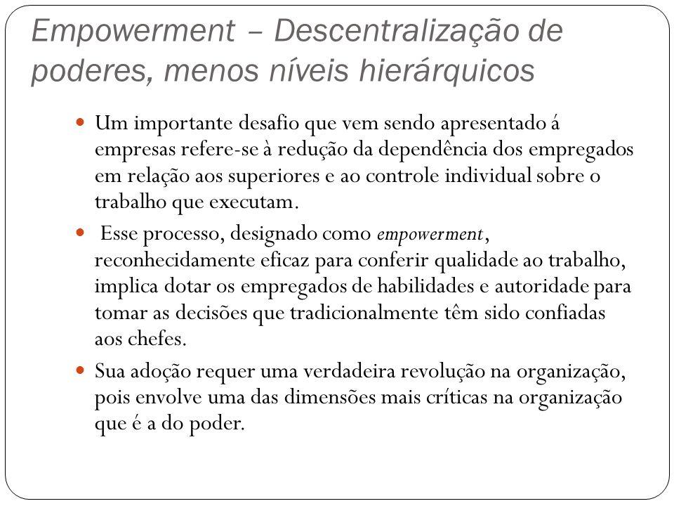 Empowerment – Descentralização de poderes, menos níveis hierárquicos Um importante desafio que vem sendo apresentado á empresas refere-se à redução da
