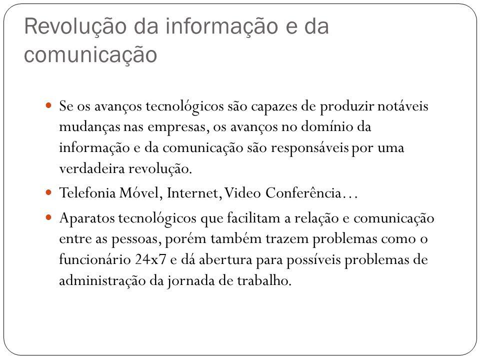 Revolução da informação e da comunicação Se os avanços tecnológicos são capazes de produzir notáveis mudanças nas empresas, os avanços no domínio da i