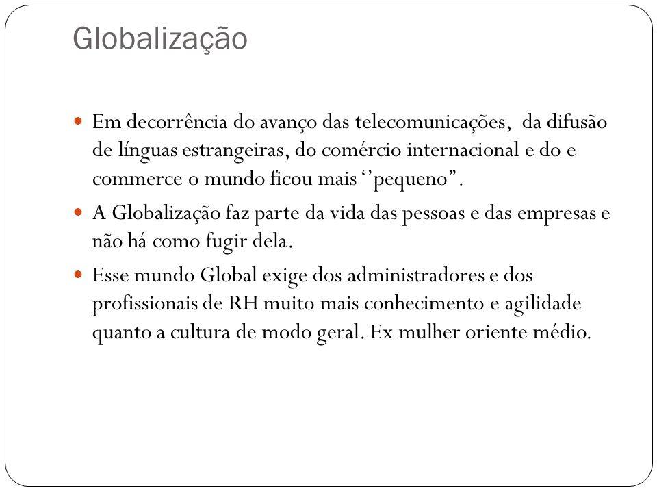 Globalização Em decorrência do avanço das telecomunicações, da difusão de línguas estrangeiras, do comércio internacional e do e commerce o mundo fico