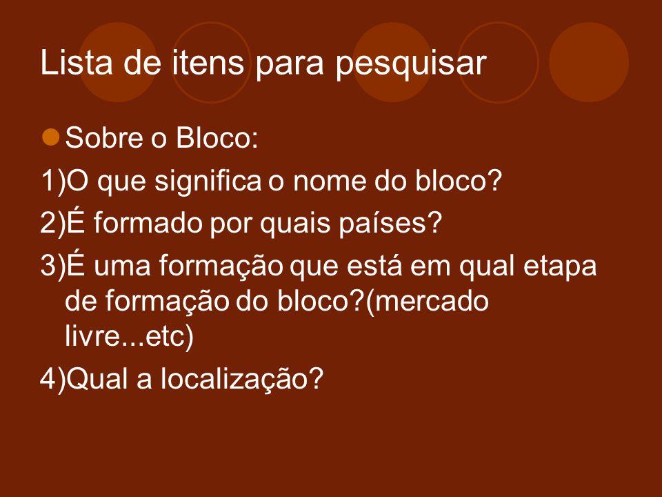 Lista de itens para pesquisar Sobre o Bloco: 1)O que significa o nome do bloco? 2)É formado por quais países? 3)É uma formação que está em qual etapa