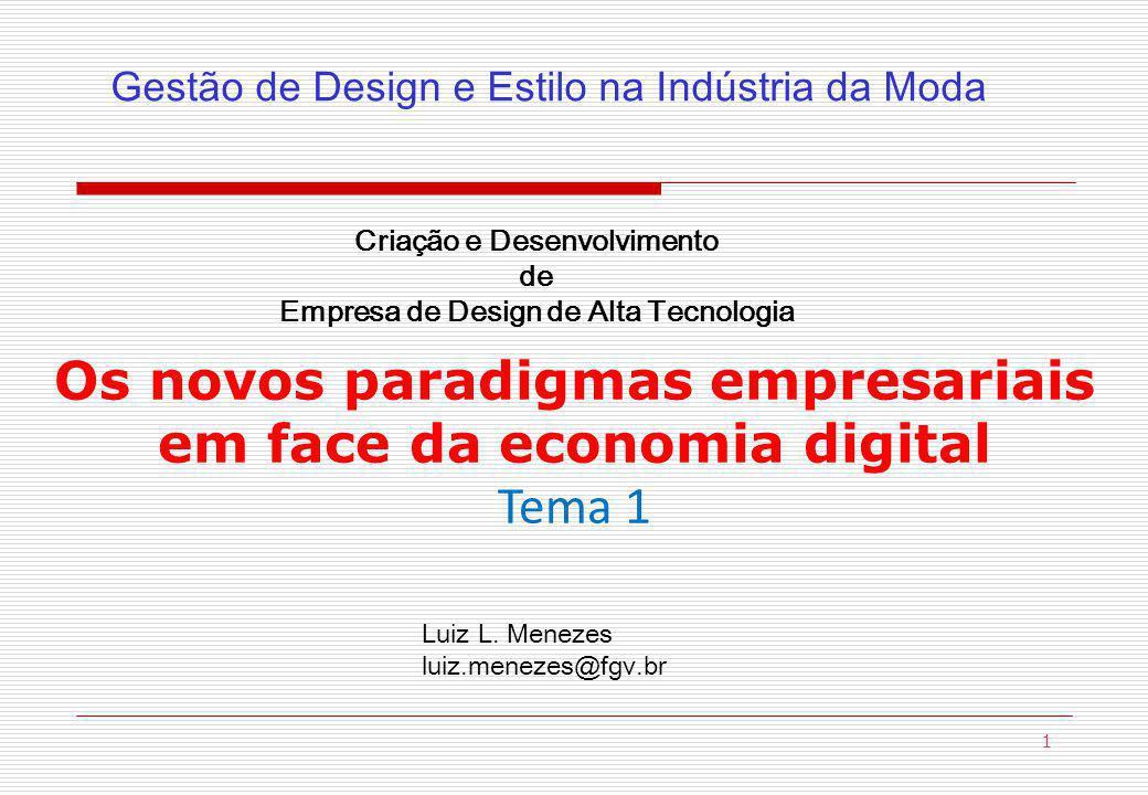1 Os novos paradigmas empresariais em face da economia digital Tema 1 Criação e Desenvolvimento de Empresa de Design de Alta Tecnologia Gestão de Design e Estilo na Indústria da Moda Luiz L.