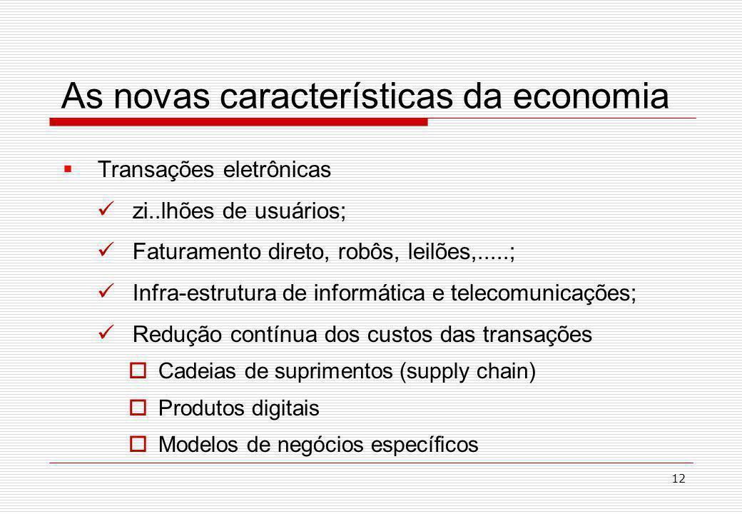 As novas características da economia Transações eletrônicas zi..lhões de usuários; Faturamento direto, robôs, leilões,.....; Infra-estrutura de informática e telecomunicações; Redução contínua dos custos das transações Cadeias de suprimentos (supply chain) Produtos digitais Modelos de negócios específicos 12