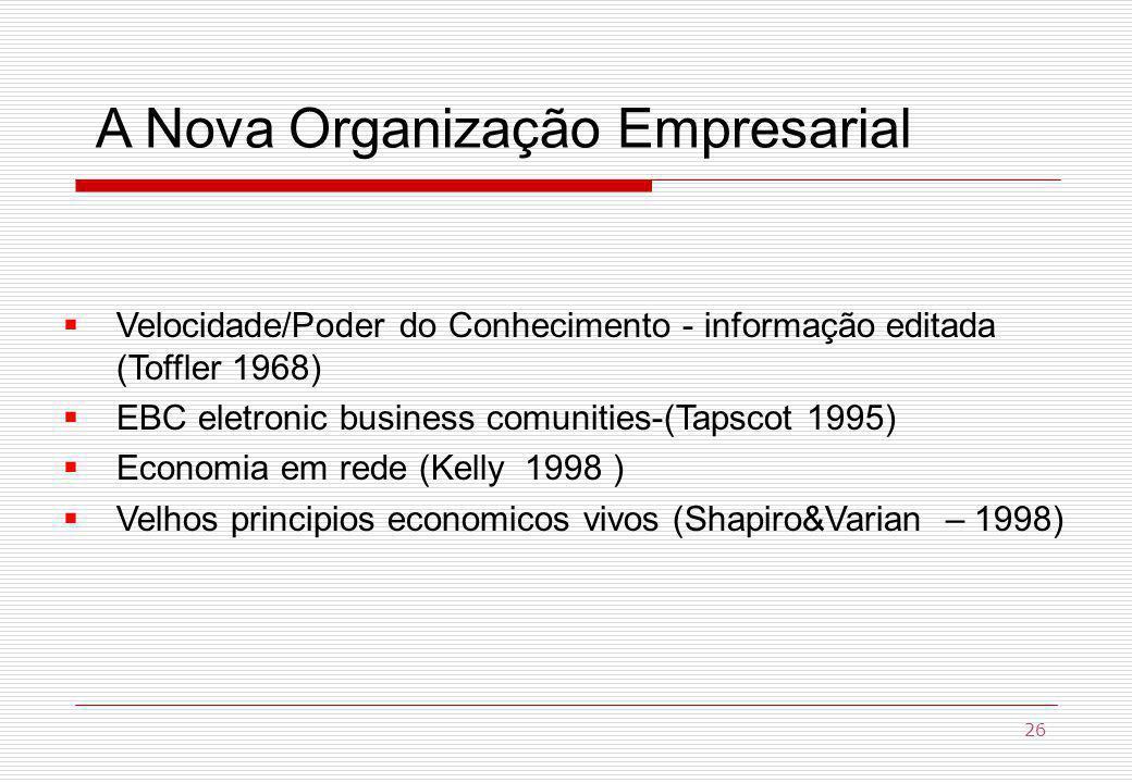 A Nova Organização Empresarial Velocidade/Poder do Conhecimento - informação editada (Toffler 1968) EBC eletronic business comunities-(Tapscot 1995) Economia em rede (Kelly 1998 ) Velhos principios economicos vivos (Shapiro&Varian – 1998) 26