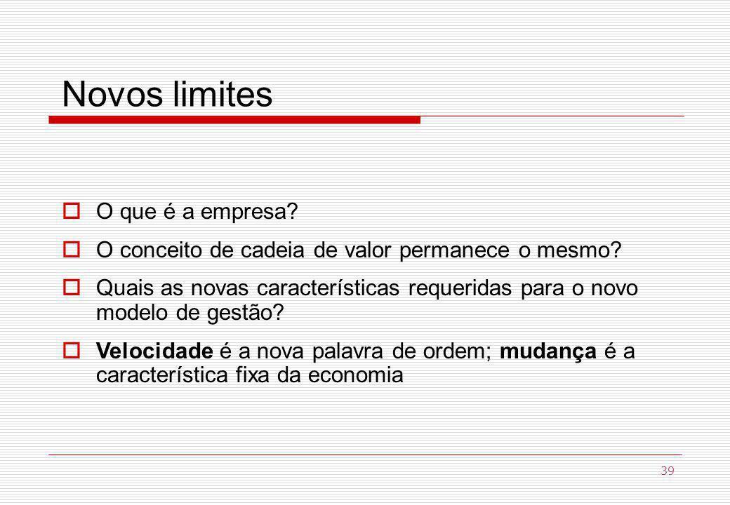 Novos limites O que é a empresa.O conceito de cadeia de valor permanece o mesmo.