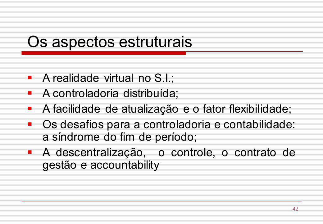 Os aspectos estruturais A realidade virtual no S.I.; A controladoria distribuída; A facilidade de atualização e o fator flexibilidade; Os desafios para a controladoria e contabilidade: a síndrome do fim de período; A descentralização, o controle, o contrato de gestão e accountability 42