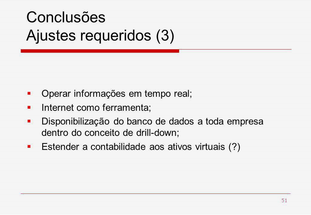 Conclusões Ajustes requeridos (3) Operar informações em tempo real; Internet como ferramenta; Disponibilização do banco de dados a toda empresa dentro do conceito de drill-down; Estender a contabilidade aos ativos virtuais (?) 51