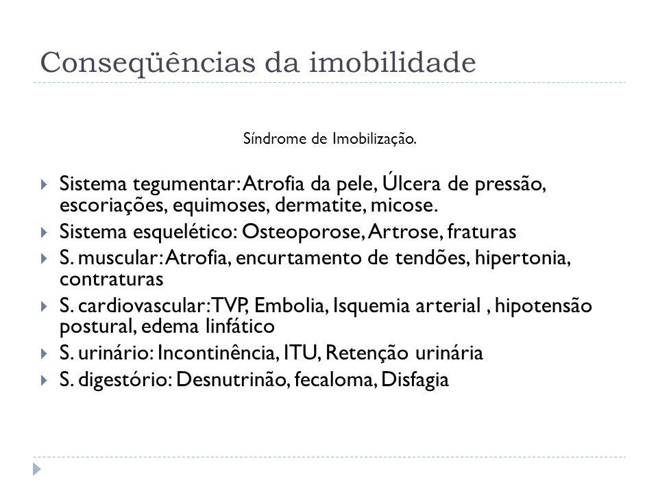 Conseqüências da imobilidade Síndrome de Imobilização. Sistema tegumentar: Atrofia da pele, Úlcera de pressão, escoriações, equimoses, dermatite, mico