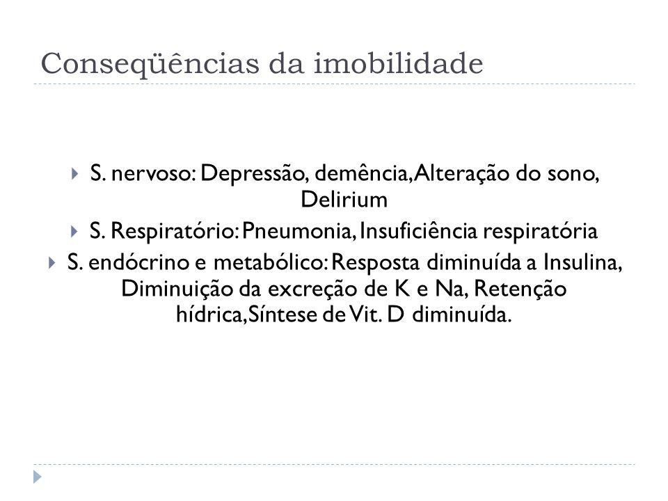 Conseqüências da imobilidade S. nervoso: Depressão, demência, Alteração do sono, Delirium S. Respiratório: Pneumonia, Insuficiência respiratória S. en