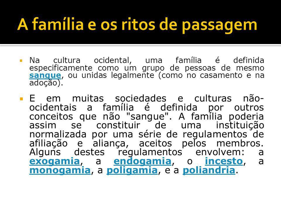 Na cultura ocidental, uma família é definida especificamente como um grupo de pessoas de mesmo sangue, ou unidas legalmente (como no casamento e na adoção).