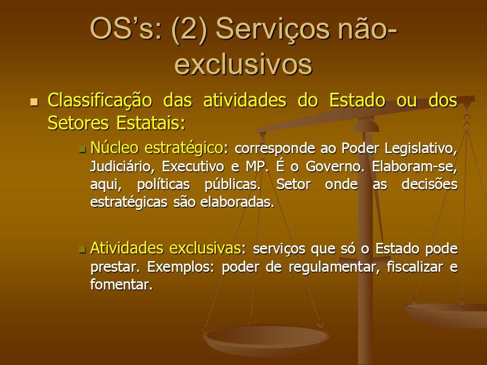 OSs: (2) Serviços não- exclusivos Classificação das atividades do Estado ou dos Setores Estatais: Classificação das atividades do Estado ou dos Setore
