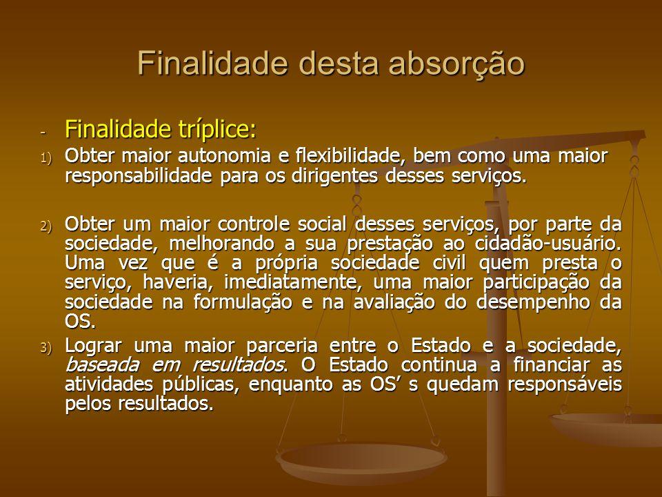 Finalidade desta absorção - Finalidade tríplice: 1) Obter maior autonomia e flexibilidade, bem como uma maior responsabilidade para os dirigentes dess