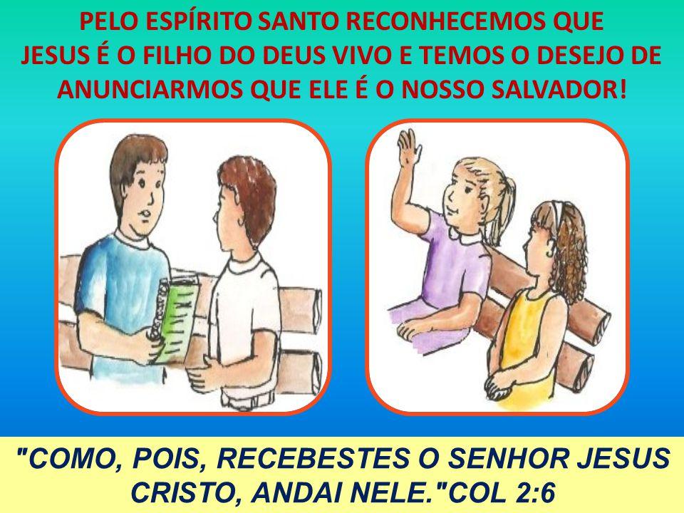 PELO ESPÍRITO SANTO RECONHECEMOS QUE JESUS É O FILHO DO DEUS VIVO E TEMOS O DESEJO DE ANUNCIARMOS QUE ELE É O NOSSO SALVADOR!