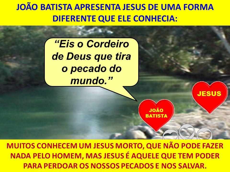 JOÃO BATISTA APRESENTA JESUS DE UMA FORMA DIFERENTE QUE ELE CONHECIA: JESUS Eis o Cordeiro de Deus que tira o pecado do mundo. JOÃO BATISTA MUITOS CON
