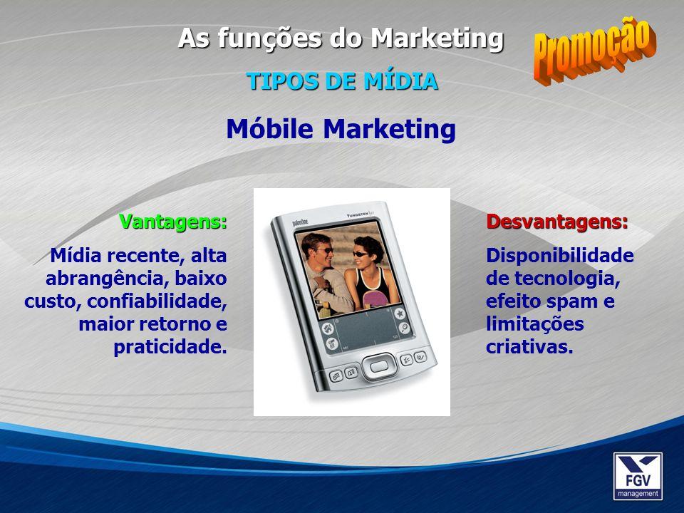 Desvantagens: Disponibilidade de tecnologia, efeito spam e limitações criativas. Móbile Marketing Vantagens: Mídia recente, alta abrangência, baixo cu