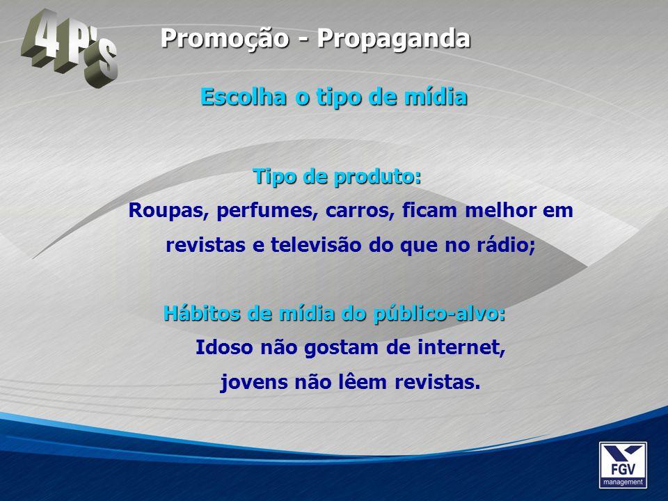 Tipo de produto: Tipo de produto: Roupas, perfumes, carros, ficam melhor em revistas e televisão do que no rádio; Hábitos de mídia do público-alvo: Há