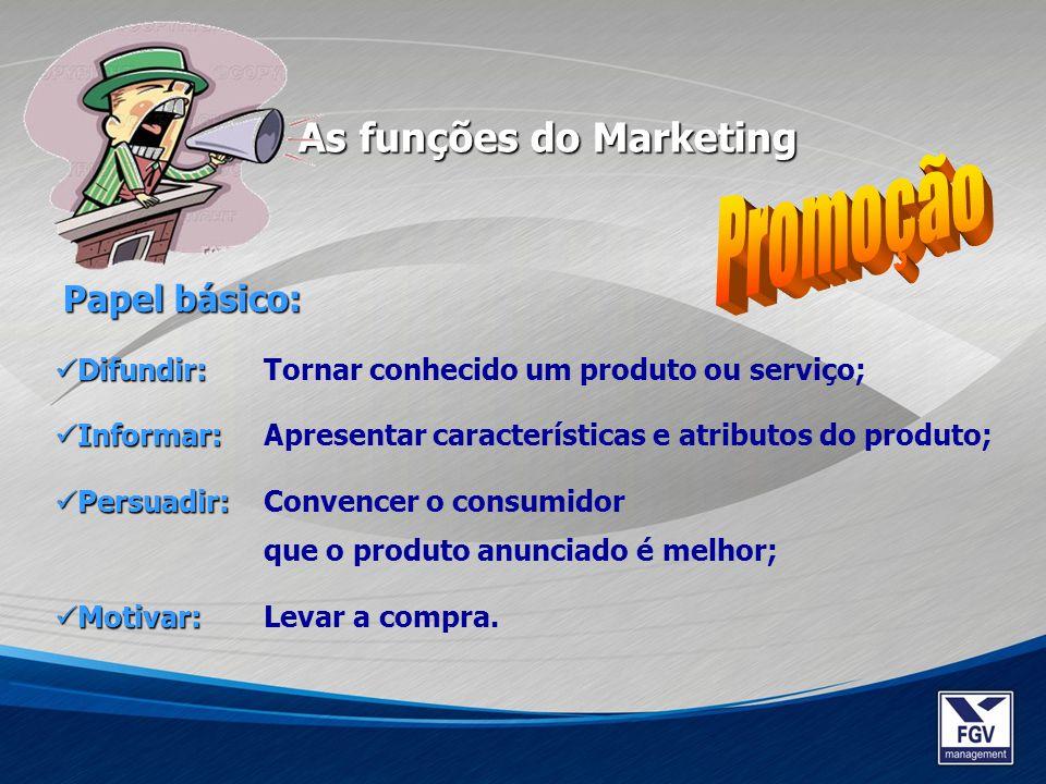 As funções do Marketing Papel básico: Difundir: Difundir: Tornar conhecido um produto ou serviço; Informar: Informar: Apresentar características e atr