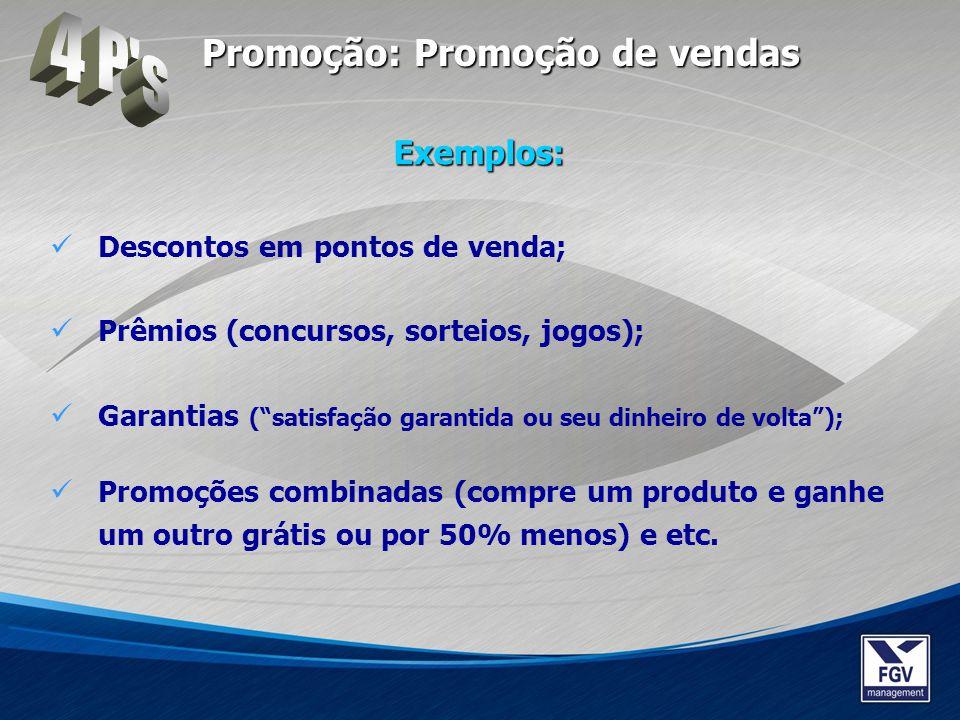 Descontos em pontos de venda; Prêmios (concursos, sorteios, jogos); Garantias (satisfação garantida ou seu dinheiro de volta); Promoções combinadas (c