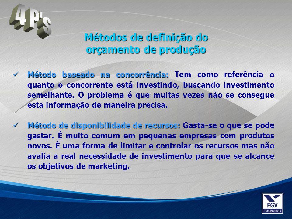 Método baseado na concorrência: Método baseado na concorrência: Tem como referência o quanto o concorrente está investindo, buscando investimento seme
