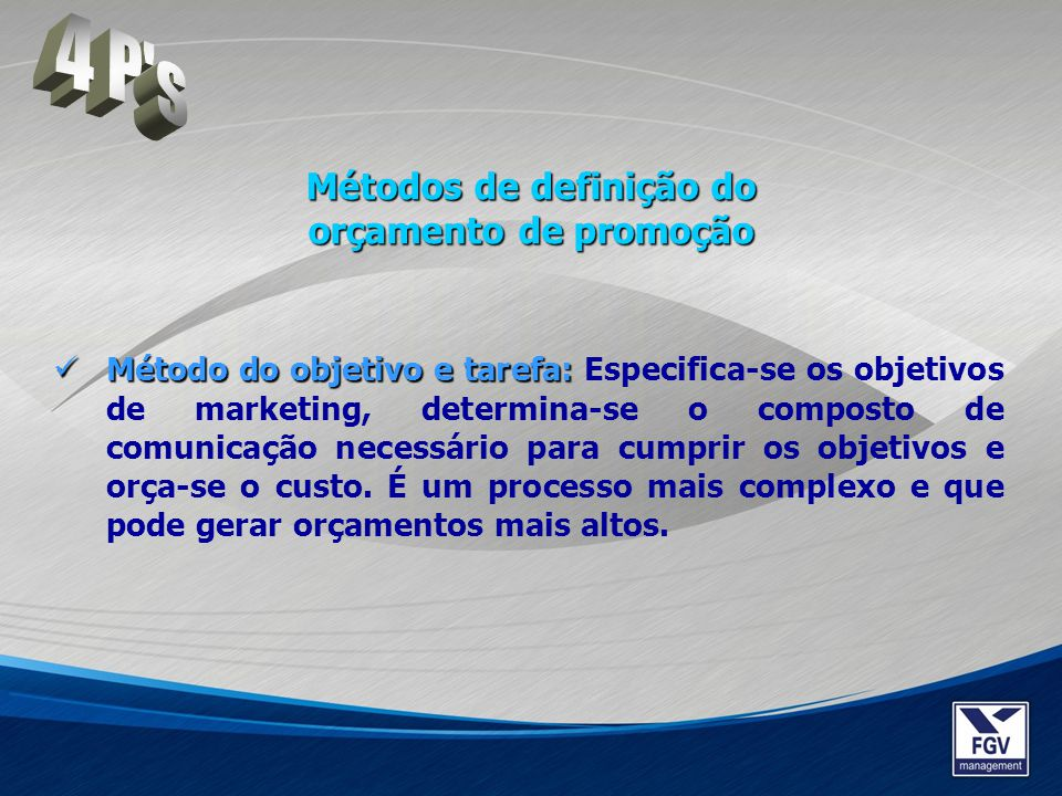 Método do objetivo e tarefa: Método do objetivo e tarefa: Especifica-se os objetivos de marketing, determina-se o composto de comunicação necessário p