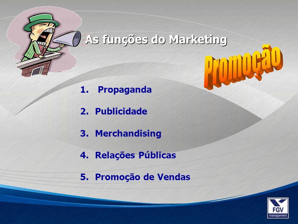 1. Propaganda 2.Publicidade 3.Merchandising 4.Relações Públicas 5.Promoção de Vendas As funções do Marketing