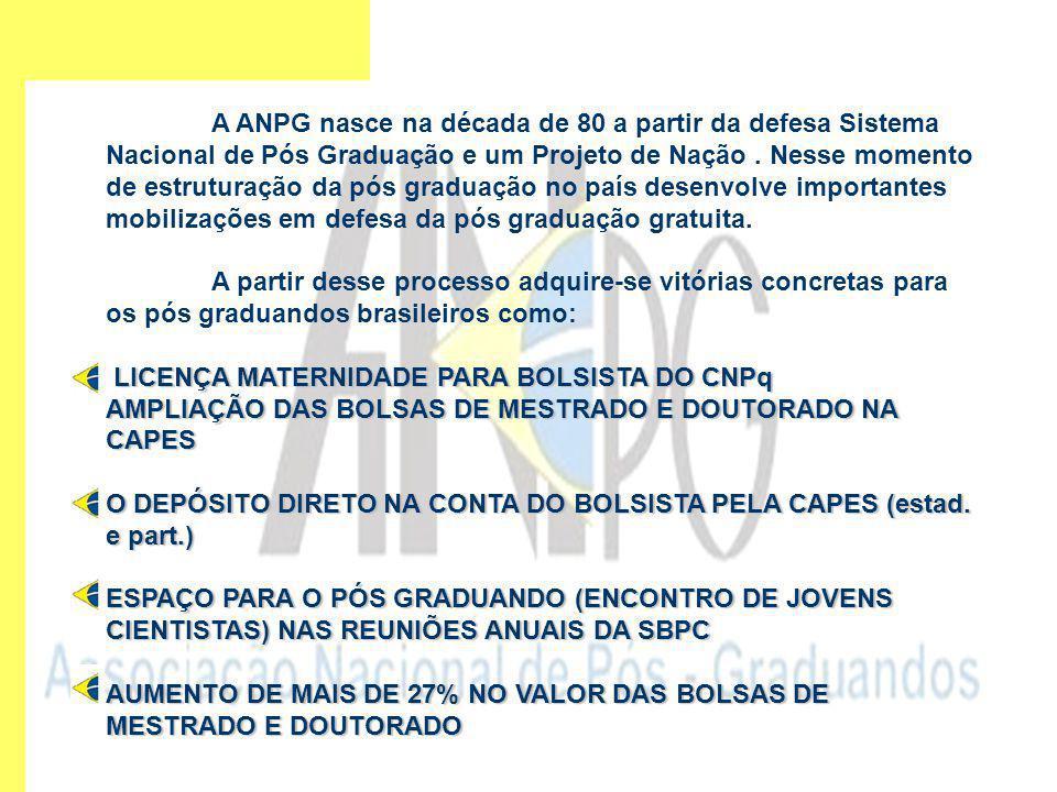 DESAFIOS DA ANPG PNPG – Plano Nacional de Pós Graduação A previsão é de que o país forme 16 mil doutores no ano de 2010.