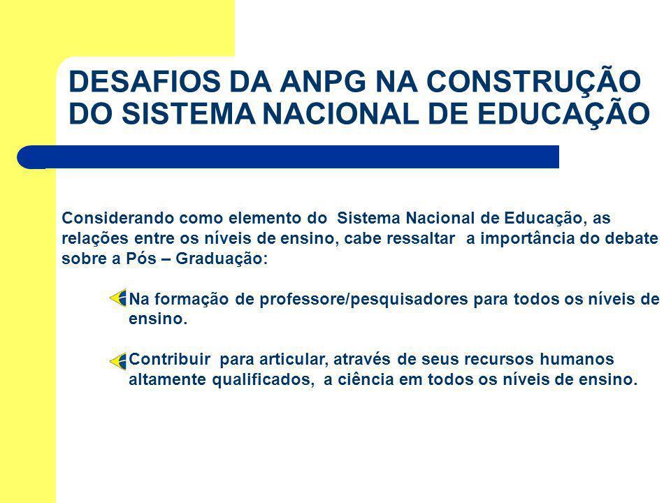 Considerando como elemento do Sistema Nacional de Educação, as relações entre os níveis de ensino, cabe ressaltar a importância do debate sobre a Pós