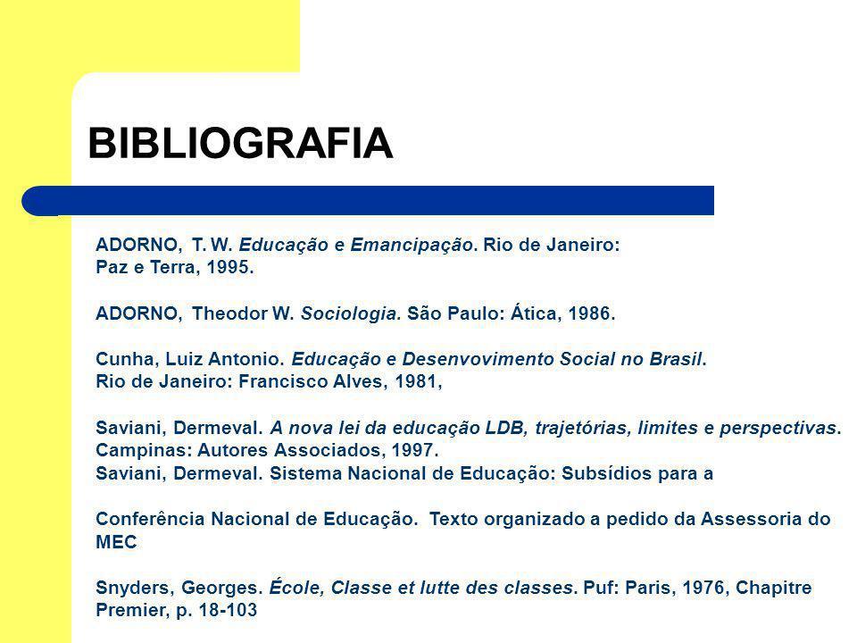 BIBLIOGRAFIA ADORNO, T. W. Educação e Emancipação. Rio de Janeiro: Paz e Terra, 1995. ADORNO, Theodor W. Sociologia. São Paulo: Ática, 1986. Cunha, Lu