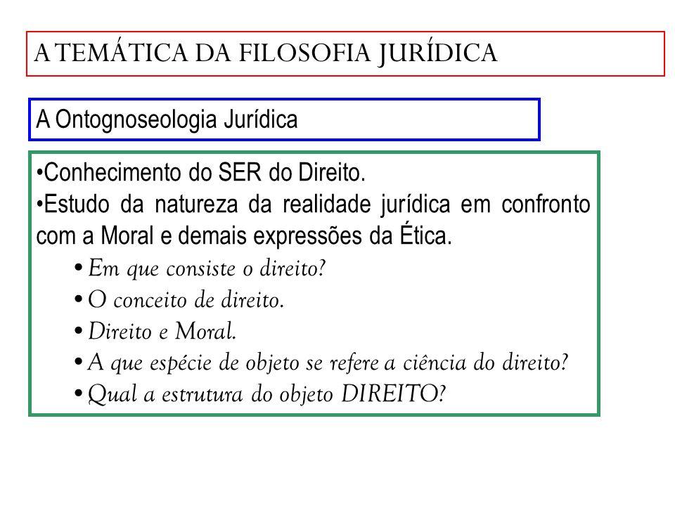 A TEMÁTICA DA FILOSOFIA JURÍDICA A Ontognoseologia Jurídica Conhecimento do SER do Direito. Estudo da natureza da realidade jurídica em confronto com