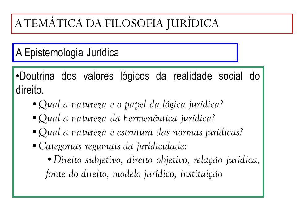 A TEMÁTICA DA FILOSOFIA JURÍDICA A Epistemologia Jurídica Doutrina dos valores lógicos da realidade social do direito. Qual a natureza e o papel da ló