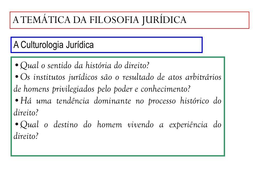 A TEMÁTICA DA FILOSOFIA JURÍDICA A Culturologia Jurídica Qual o sentido da história do direito? Os institutos jurídicos são o resultado de atos arbitr