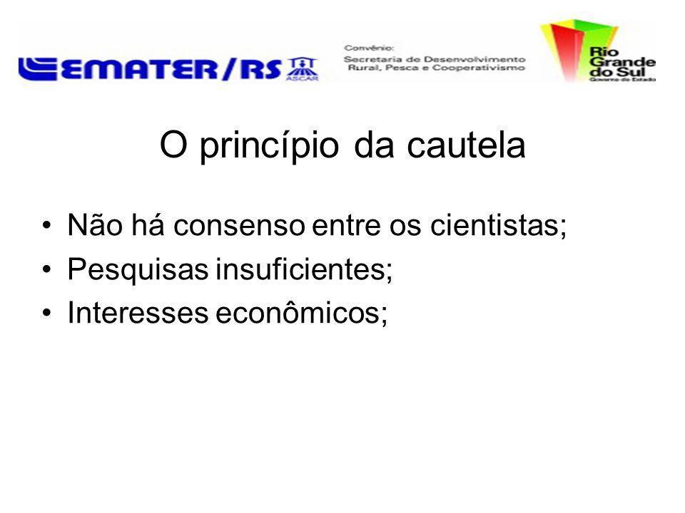O princípio da cautela Não há consenso entre os cientistas; Pesquisas insuficientes; Interesses econômicos;