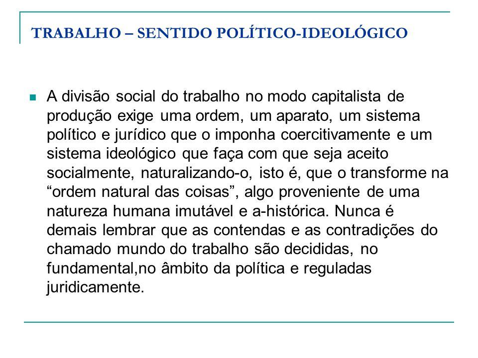TRABALHO – SENTIDO POLÍTICO-IDEOLÓGICO A divisão social do trabalho no modo capitalista de produção exige uma ordem, um aparato, um sistema político e